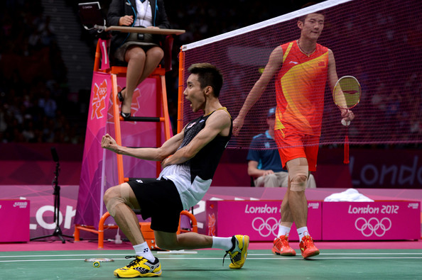Chong Wei Lee Chong Wei Lee of Malaysia celebrates winning the Men's Singles Badminton Semi-Final against Long Chen of China on Day 7 of the London 2012 Olympic Games at Wembley Arena on August 3, 2012 in London, England.