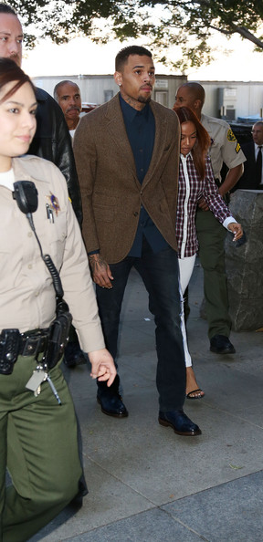 Chris Brown Appears in Court [outerwear,blazer,suit,jacket,jeans,trousers,chris brown,rihanna,christopher hollosy,karrueche tran,probation,anger management treatment program,court,los angeles,courthouse,party]
