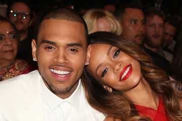 Chris Brown Rihanna The 55th Annual GRAMMY Awards - Backstage And Audience