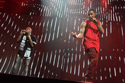 "Chris Brown (L) and Trey Songz perform onstage during the ""Between The Sheets"" tour at Barclays Center of Brooklyn on February 16, 2015 in New York City."