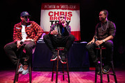 (L-R) Singer Chris Brown, singer Trey Songz and TV personality Terrence J attend a press conference at House of Blues Sunset Strip on November 10, 2014 in West Hollywood, California.
