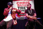 Singers Chris Brown (L) and Trey Songz attend a press conference at House of Blues Sunset Strip on November 10, 2014 in West Hollywood, California.