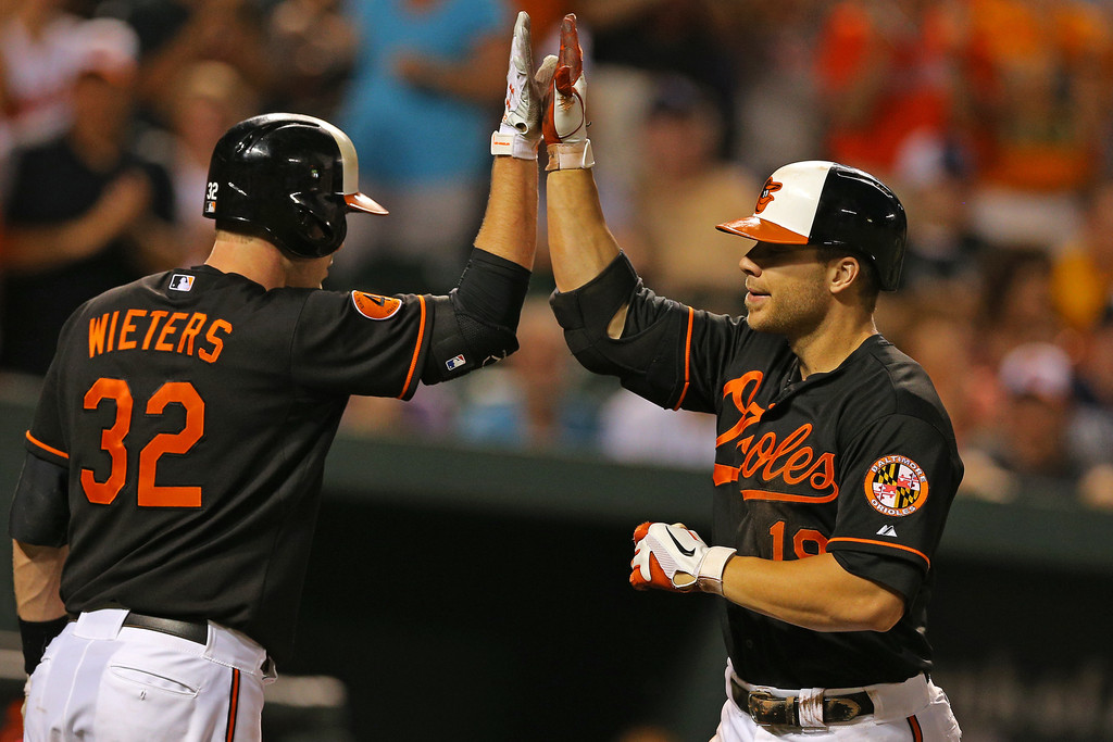 Chris Davis #19 of the Baltimore Orioles (right) celebrates with teammate Matt Wieters #32 after hitting a solo home run in the second inning against the New York Yankees at Oriole Park at Camden Yards on June 30, 2013 in Baltimore, Maryland.