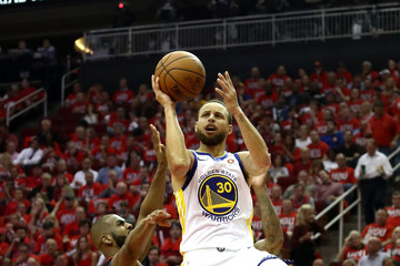 Chris Paul Stephen Curry Golden State Warriors v Houston Rockets - Game One