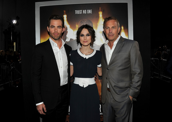 'Jack Ryan: Shadow Recruit' Premieres in Hollywood — Part 2 [jack ryan: shadow recruit,event,fashion,premiere,suit,white-collar worker,formal wear,dinner,actors,keira knightley,kevin costner,chris pine,l-r,paramount pictures,red carpet,premiere,premiere]
