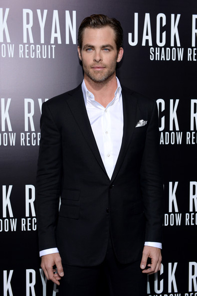 """Premiere Of Paramount Pictures' """"Jack Ryan: Shadow Recruit"""" - Arrivals [jack ryan: shadow recruit,suit,formal wear,premiere,tuxedo,white-collar worker,outerwear,magazine,event,model,blazer,arrivals,chris pine,tcl chinese theatre,california,hollywood,paramount pictures,premiere,premiere]"""