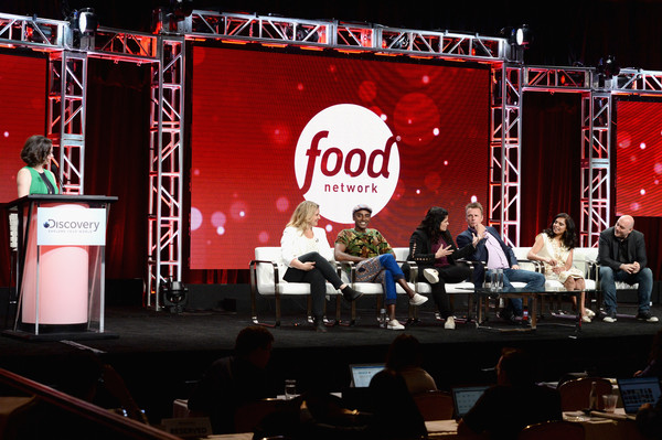 TCA Summer Event 2018 [amanda freitag,president,maneet chauhan,marc murphy,chris santos,food network,of hgtv,l-r,allison page,stage,red,stage equipment,performance,event,talent show,drum,display device,music,drums,tca summer event]