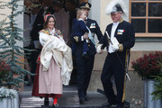 Prince Gabriel of Sweden, Duke of Dalarna held by Princess Sofia of Sweden and Prince Carl Philip holding Prince Alexander, Duke of Sodermanland leave the chapel after the christening of Prince Gabriel of Sweden at Drottningholm Palace Chapel on December 1, 2017 in Stockholm, Sweden.