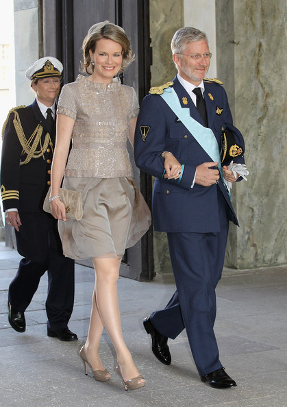 Crown Prince Philippe and Crown Princes Mathilde of Belgium attend the christening of  new Swedish heir to the throne Princess Estelle Silvia Ewa Mary of Sweden at The Royal Palace on May 22, 2012 in Stockholm, Sweden.