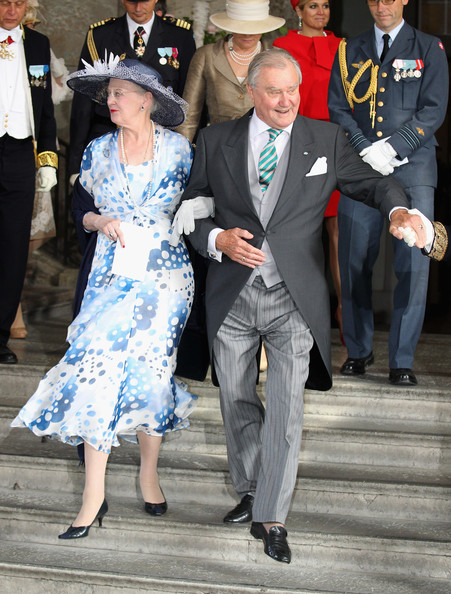 Queen Margarethe II of Denmark and Prince Henrik of Denmark attends the christening of  new Swedish heir to the throne Princess Estelle Silvia Ewa Mary of Sweden at The Royal Palace on May 22, 2012 in Stockholm, Sweden.