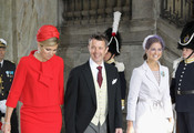 (L-R) Princess Maxima of Holland, Prince Frederik of Denmark and Princess Madeleine of Sweden attend the christening of  new Swedish heir to the throne Princess Estelle Silvia Ewa Mary of Sweden at The Royal Palace on May 22, 2012 in Stockholm, Sweden.