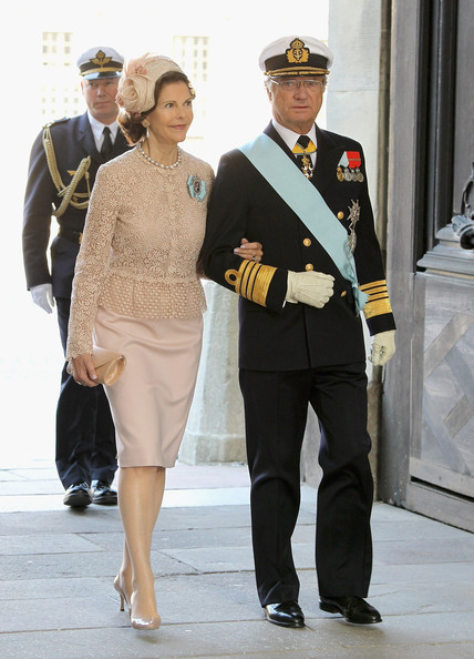 Queen Slivia of Sweden and King Carl XVI Gustaf of Sweden attend the christening of  new Swedish heir to the throne Princess Estelle Silvia Ewa Mary of Sweden at The Royal Palace on May 22, 2012 in Stockholm, Sweden.