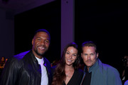 (L-R) Michael Strahan, Liz Godwin and Jason Lewis attend the front row for Christian Cowan during New York Fashion Week: The Shows at Gallery II at Spring Studios on September 10, 2019 in New York City.