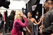 Keke Palmer and Michael Strahan are seen backstage at Christian Cowan SS20 x Keke Palmer For Olay Body at Gallery II at Spring Studios on September 10, 2019 in New York City.
