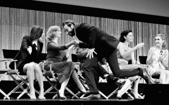 """The Paley Center For Media's PaleyFest 2014 Honoring """"Mad Men"""" [mad men,image,black-and-white,monochrome,fun,photography,event,sitting,musical,style,team,performance,actors,christina hendricks,elisabeth moss,color original,stage,black and white,paley center for media,paleyfest 2014]"""