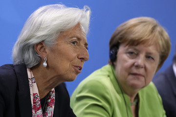 Christine Lagarde Merkel Meets With Finance, Development And Labor Institution Heads