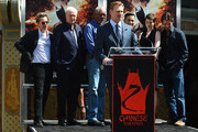 Director, Writer, Producer Christopher Nolan, (center) who was honored with Hand and Footprint Ceremony at Grauman's Chinese Theatre with (L-R) Gary Oldman, Michael Caine, Morgan Freeman,Joseph Gordon-Levitt, Anne Hathaway, Christian Bale, on July 7, 2012 in Hollywood, California.