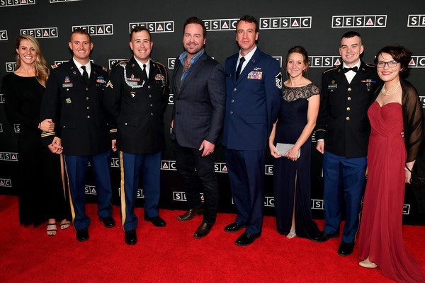 2018 SESAC Nashville Music Awards - Arrivals [red carpet,carpet,event,premiere,uniform,team,official,military officer,flooring,crew,arrivals,captin justin wright,kerianne wright,jeffrey brown,anna brown,carley peterson,nashville music awards,l-r,sesac,cpl]