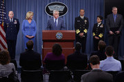 U.S. Defense Secretary Chuck Hagel (3rd L) announces a series of reforms to the troubled nuclear force during a press briefing with (L-R) Air Force Global Strike Commander Lt. Gen. Stephen Wilson, Air Force Secretary Debrah Lee James, Strategic Command Commander Adm. Cecil Haney, Vice Chief of Naval Operations Adm. Michelle Howard and Deputy Secretary of Defense Robert Work at the Pentagon November 14, 2014 in Arlington, Virginia. The measures are designed to shore up the US military's troubled nuclear force after a spate of incidents exposed management and morale problems.
