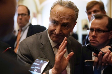 Chuck Schumer Senate Lawmakers Speak To Reporters After Weekly Party Luncheons