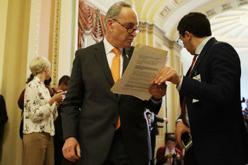 Chuck Schumer Senate Lawmakers Address The Media After Their Weekly Policy Luncheons