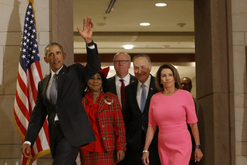 Chuck Schumer President Obama Meets With Democratic Lawmakers On Capitol Hill