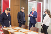 Director Joe Wright, Actor Gary Oldman, Michael Bishop Director, The National Churchill Library and Center and Gisele Schmidt at Churchill Library Meet and Greet - Darkest Hour Tour at National Churchill Library and Center on November 3, 2017 in Washington, DC.
