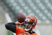 Jason Campbell #17 of the Cincinnati Bengals throws a pass during an organized team activity (OTA) workout at Paul Brown Stadium on June 3, 2014 in Cincinnati, Ohio.