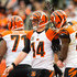A.j. Green Photos - Quarterback Andy Dalton #14 celebrates with wide receiver A.J. Green #18 of the Cincinnati Bengals after Dalton scored during the first half against the Cleveland Browns at FirstEnergy Stadium on December 6, 2015 in Cleveland, Ohio. - Cincinnati Bengals v Cleveland Browns