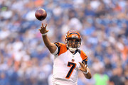 Bruce Gradkowski #7 of the Cincinnati Bengals throws a pass during the game against the Indianapolis Colts at Lucas Oil Stadium on August 30, 2012 in Indianapolis, Indiana.