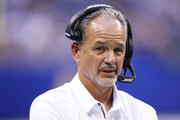 Head coach Chuck Pagano of the Indianapolis Colts looks on in the first half of a preseason game against the Cincinnati Bengals at Lucas Oil Stadium on August 31, 2017 in Indianapolis, Indiana.
