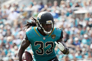 Chris Ivory #33 of the Jacksonville Jaguars runs with the football during the first half of their game against the Cincinnati Bengals at EverBank Field on November 5, 2017 in Jacksonville, Florida.