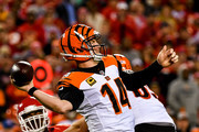 Andy Dalton #14 of the Cincinnati Bengals throws a pass during the first quarter of the game against the Kansas City Chiefs at Arrowhead Stadium on October 21, 2018 in Kansas City, Kansas.