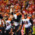Andy Dalton Photos - Andy Dalton #14 of the Cincinnati Bengals rolls out of the pocket and throws a pass during the second quarter of the game against the Kansas City Chiefs at Arrowhead Stadium on October 21, 2018 in Kansas City, Kansas. - Cincinnati Bengals vs. Kansas City Chiefs