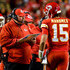 Andy Reid Photos - Head coach Andy Reid of the Kansas City Chiefs talks with quarterback Patrick Mahomes #15 during a time out in the first half of the game against the Cincinnati Bengals at Arrowhead Stadium on October 21, 2018 in Kansas City, Kansas. - Cincinnati Bengals vs. Kansas City Chiefs