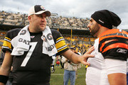 Ben Roethlisberger #7 of the Pittsburgh Steelers talks with Bruce Gradkowski #7 of the Cincinnati Bengals following the game on December 4, 2011 at Heinz Field in Pittsburgh, Pennsylvania.
