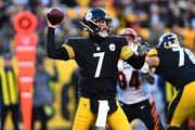 Ben Roethlisberger #7 of the Pittsburgh Steelers drops back to pass in the first quarter during the game against the Cincinnati Bengals at Heinz Field on December 30, 2018 in Pittsburgh, Pennsylvania.