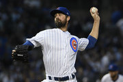 Cole Hamels #35 of the Chicago Cubs throws the ball against the Cincinnati Reds during the first inning on September 14, 2018 at Wrigley Field  in Chicago, Illinois.