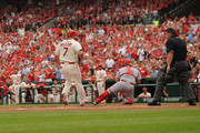Matt Holliday #7 of the St. Louis Cardinals scores in the first inning against the Cincinnati Reds at Busch Stadium on April 18, 2015 in St. Louis, Missouri.