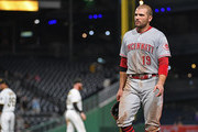 Joey Votto #19 of the Cincinnati Reds walks off the field after the final out in a Pittsburgh Pirates 3-2 win at PNC Park on September 5, 2018 in Pittsburgh, Pennsylvania.