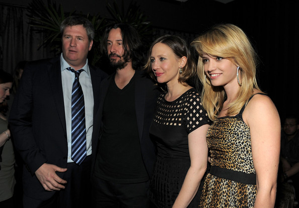 "(L-R)  Producer Jordan Schur, actor Keanu Reeves, actress Vera Farmiga and model Julie Ordon attend the Cinema Society with DeLeon Tequila and Moving Pictures Film & Television After Party Of ""Henry's Crime"" at The Trilby at The Cooper Square Hotel on April 4, 2011 in New York City."