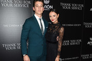 """Miles Teller and Keleigh Sperry attend a screening of DreamWorks and Universal Pictures' """"Thank You for Your Service""""  hosted by The Cinema Society at The Landmark at 57 West on October 25, 2017 in New York City."""