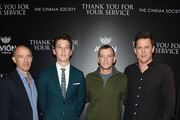 "(L-R) Jon Kilik, Miles Teller, Adam Schumann and Jason Hall attend a screening of DreamWorks and Universal Pictures' ""Thank You for Your Service""  hosted by The Cinema Society at The Landmark at 57 West on October 25, 2017 in New York City."