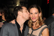 """Actor Sam Rockwell and actress Hilary Swank attend the Cinema Society & Laura Mercier host the after party for """"Conviction"""" at Soho Grand Hotel on October 12, 2010 in New York City."""