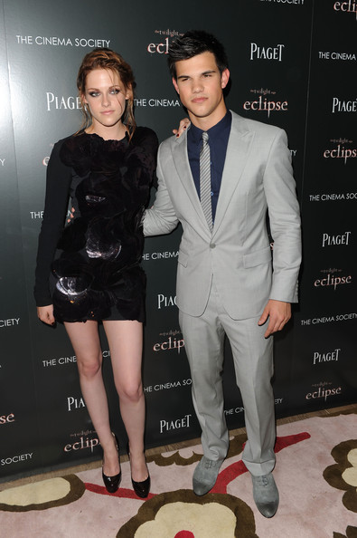 "Kristen Stewart Actors Kristen Stewart and Taylor Lautner attend The Cinema Society Screening Of ""The Twilight Saga: Eclipse"" at Crosby Street Hotel on June 28, 2010 in New York, New York."