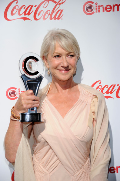 Actress Helen Mirren, recipient of the Career Achievement Award, arrives at the CinemaCon awards ceremony at the Pure Nightclub at Caesars Palace during CinemaCon, the official convention of the National Association of Theatre Owners, March 31, 2011 in Las Vegas, Nevada.