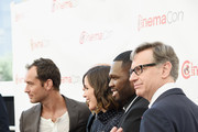 """(L-R) Actors Jude Law, Jason Statham, Rose Byrne, rapper Curtis """"50 Cent"""" Jackson III and Director Paul Feig attend 20th Century Fox Invites You to a Special Presentation Highlighting Its Future Release Schedule at The Colosseum at Caesars Palace during CinemaCon, the official convention of the National Association of Theatre Owners, on April 23, 2015 in Las Vegas, Nevada."""