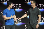 Actor Mark Wahlberg (L) and director Peter Berg onstage during CinemaCon 2018 STXfilms Invites You to an Evening Featuring A Sneak Preview of Their Feature Films? at The Colosseum at Caesars Palace during CinemaCon, the official convention of the National Association of Theatre Owners, on April 24, 2018 in Las Vegas, Nevada.