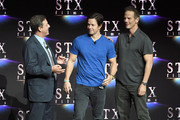 "(L-R) Chairman of STXfilms Adam Fogelson, actor Mark Wahlberg and director Peter Berg speak onstage during CinemaCon 2018 STXfilms Invites You to an Evening Featuring A Sneak Preview of Their Feature Films"" at The Colosseum at Caesars Palace during CinemaCon, the official convention of the National Association of Theatre Owners, on April 24, 2018 in Las Vegas, Nevada."