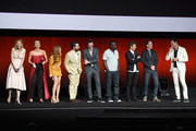 "(L-R) Actors Leslie Bibb, Annabelle Wallis, Isla Fisher, Jake Johnson, Jon Hamm, Hannibal Buress, Jeremy Renner, Ed Helms and Will Arnett speak onstage during CinemaCon 2018 Warner Bros. Pictures Invites You to ""The Big Picture"", an Exclusive Presentation of our Upcoming Slate at The Colosseum at Caesars Palace during CinemaCon, the official convention of the National Association of Theatre Owners, on April 24, 2018 in Las Vegas, Nevada."